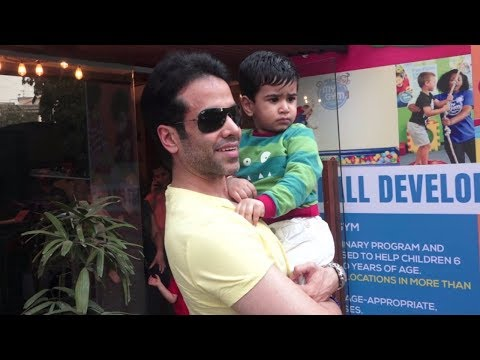 Tusshar Kapoor With Son Laksshya Spotted  At Toddlerplay Gym In Bandra.