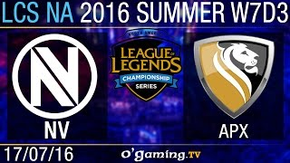 EnVy vs Apex - LCS NA Summer Split 2016 - W7D3