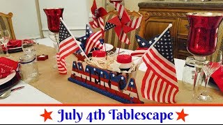 "Join Amy for a look at our 4th of July Tablescape. I used both Dollar Tree items as well as items that I had around the house. This is my version of a Dollar Tree Use What You Have Budget Friendly Tablescape. I started with a basic white tablecloth, a burlap table runner from Michael's, as well as various items that I picked up over the years from Macy's, Home Goods, and the outlet store.Amy Learns to Cook is all about learning to make simple, tasty food from fresh ingredients.  One year ago, I made a commitment to stop eating processed convenience foods.  I decided to learn to cook ""real"" food. Join me!  Let's learn to cook together! Enjoy! Please share! Please SUBSCRIBE to my channel, LIKE, and leave a COMMENT.Please visit my website: www.amylearnstocook.comAny links in this description, including Amazon, are affiliate links. Daily Beetle by Kevin MacLeod is licensed under a Creative Commons Attribution license (https://creativecommons.org/licenses/by/4.0/)Source: http://incompetech.com/music/royalty-free/index.html?isrc=USUAN1500025Artist: http://incompetech.com/"