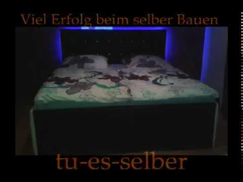 Diy Designer Bett mit Kunstleder und LED selber bauen