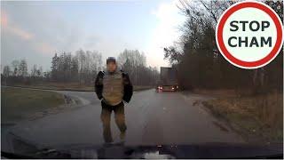 Kierowca ciężarówki spycha z drogi, a potem wyzywa i grozi