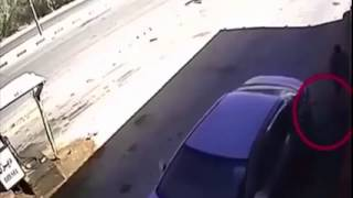 irresponsible driver blows a gas station