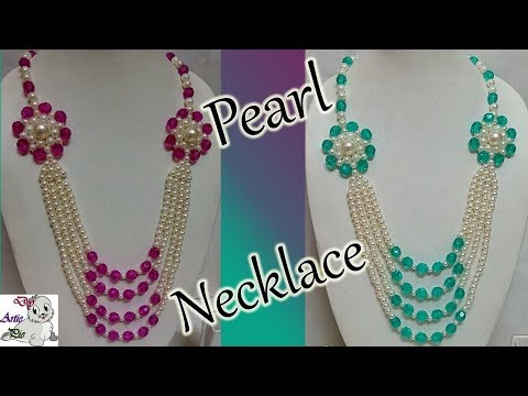 #76 How to Make Pearl Beaded Necklace    Diy    Jewellery Making
