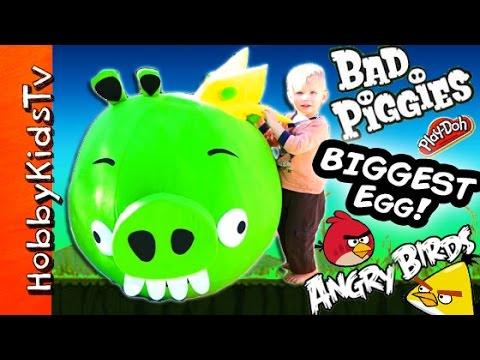 Worlds BIGGEST King Pig Angry Bird Surprise Egg! Toys Bad Piggies, HobbyKidsTV