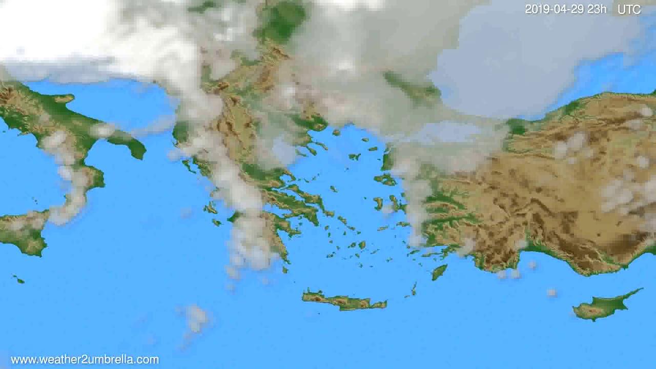 Cloud forecast Greece // modelrun: 12h UTC 2019-04-26