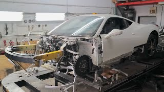 My WRECKED Ferrari 458 gets NEW Front Frame Support! by TJ Hunt