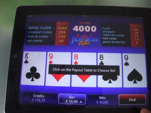 Jacks or Better - Me playing Jacks or Better video poker at Spin Palace mobile casino.
