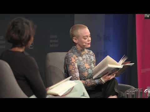 Rose McGowan with Afua Hirsch at the Edinburgh International Book Festival