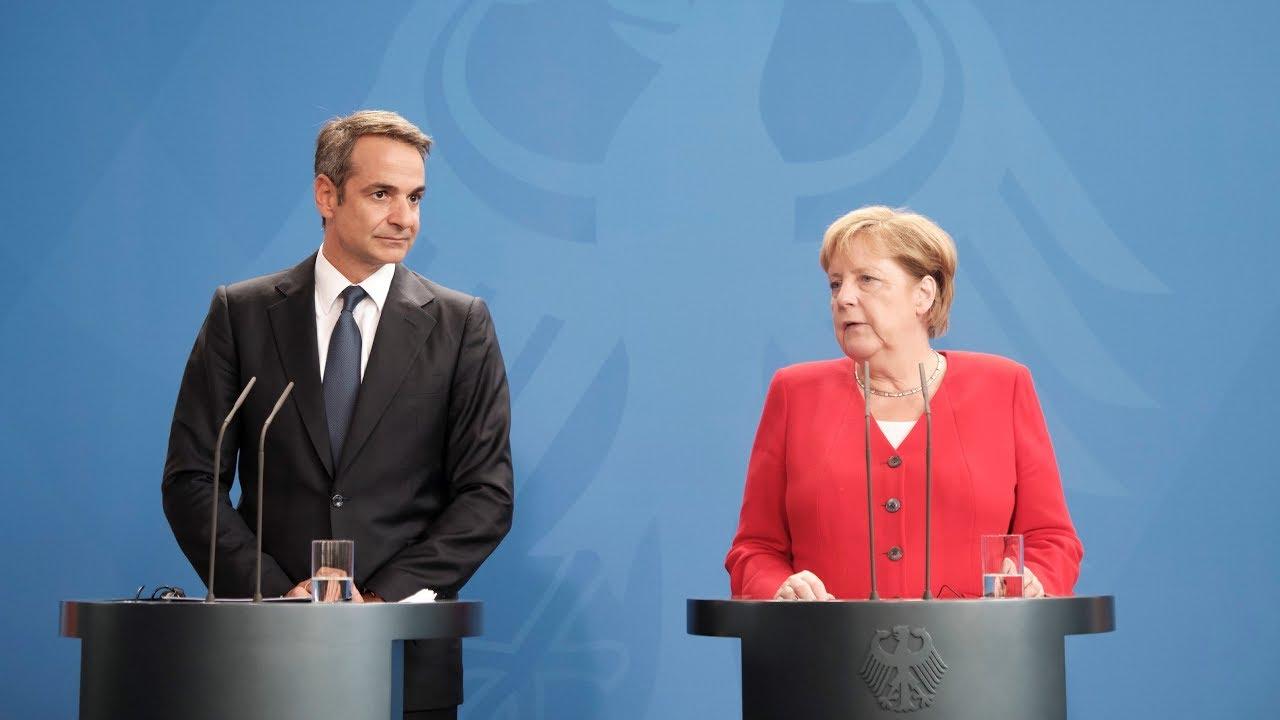 Κοινές δηλώσεις του Πρωθυπουργού Κυριάκου Μητσοτάκη με την Καγκελάριο της Γερμανίας Άνγκελα Μέρκελ.