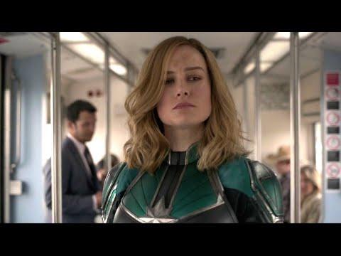Captain Marvel Chasing Skrull - Train Fight Scene