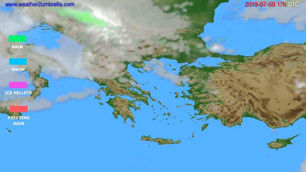Precipitation forecast Greece // modelrun: 00h UTC 2019-07-08