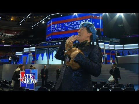Stephen Colbert again as Caesar Flickerman, this time crashing the DNC.