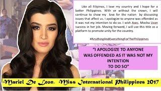 Video MARIEL DE LEON | Latest Statement | APOLOGY MESSAGE | Miss International Philippines 2017 MP3, 3GP, MP4, WEBM, AVI, FLV November 2017