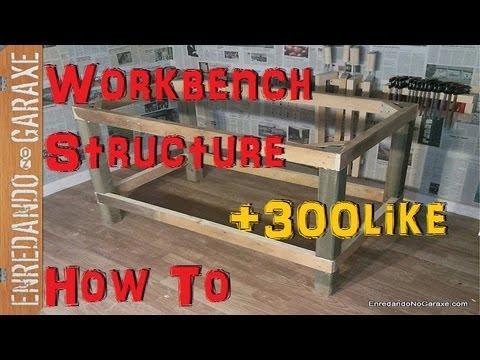 Como hacer una estructura para mesa de taller. How to make a workbench structure
