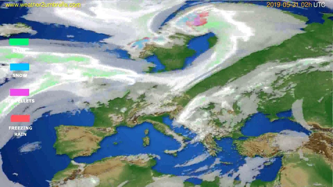 Precipitation forecast Europe // modelrun: 00h UTC 2019-05-29