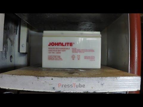 液壓機對決機車電瓶 實驗過程全讓網友瞠目