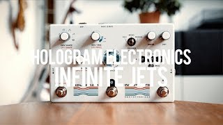 """My demo of the Hologram Electronics Infinite Jets Resynthesizer!https://hologramelectronics.com/""""Infinite Jets tracks the dynamics of your playing, samples individual notes and chords, and then reinterprets them as new sounds using two independent channels of infinite sustain. It offers 4 separate sampling effects in one: Blur, Synth, Glitch, and Swell.Create lush ambient textures that seamlessly fade from one chord to the next, infinite sustain, glitching granular loops, filtered synthesizer sounds, violin-like fuzz and swell effects, drones, distorted delay and vibrato, and much more.""""Guitar: Fano PX6Amp: Tone King 20th Anniversary ImperialCables: Toaster Cables - http://www.toastercables.com/Patch cables: Mulder Audio - http://www.mulderaudio.com/Contact: livingroomgear@gmail.comhttps://www.patreon.com/livingroomgeardemoshttps://www.facebook.com/livingroomgearhttps://twitter.com/livingroomgearhttp://instagram.com/livingroomgeardemoshttp://ask.fm/livingroomgearhttp://livingroomgeardemos.tumblr.com"""