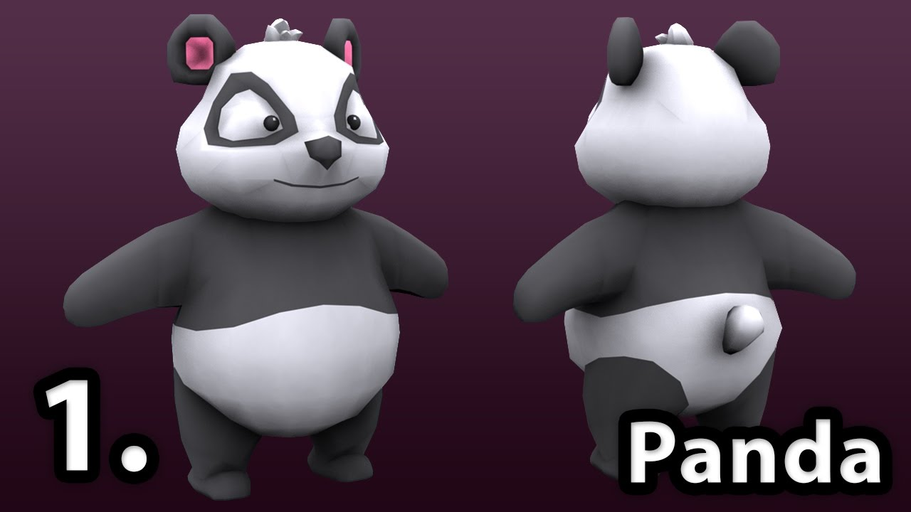 3ds max tutorials low poly character modeling panda co1e