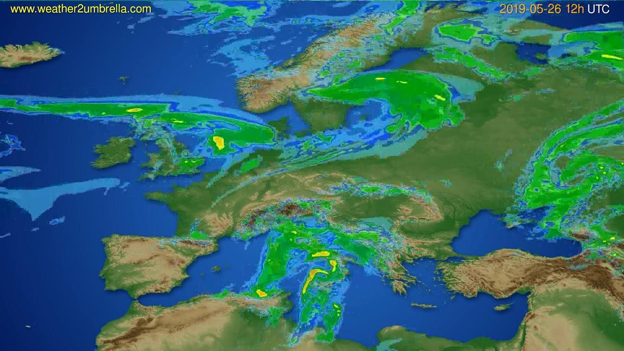 Radar forecast Europe // modelrun: 00h UTC 2019-05-26