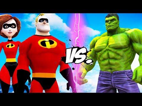 The Hulk vs Mr. Incredible & Elastigirl - Epic Battle