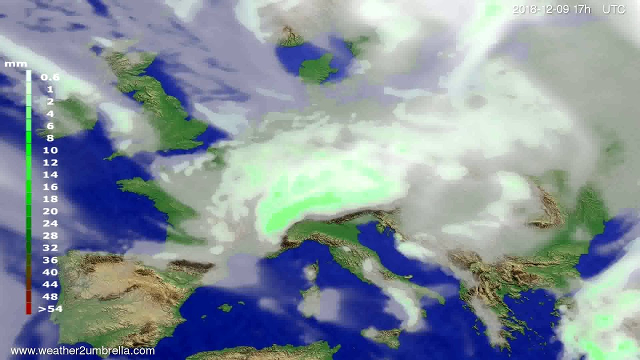 Precipitation forecast Europe 2018-12-07