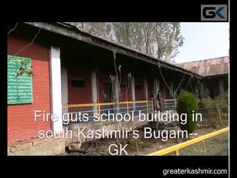 Fire guts school building in south Kashmir's Bugam