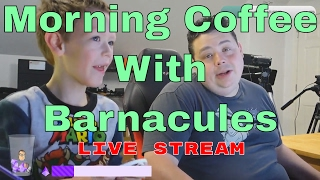 Come join me for Morning Coffee with Barnacules at 8:30am Pacific Time Mon-Fri (sometimes weekends) @ http://Twitch.TV/Barnacules. This is a new live stream for all my supporters to just wake up and hang out with you each morning and get the day started. I realize not everyone can wake up so early and catch the show so I record it for everyone to enjoy.▼ Please consider joining my Patreon and become my new boss ▼http://patreon.com/barnacules▼ You can donate directly and send me a message to help out ▼http://bit.ly/helpbarnacules▼ I also have a daily stream on Twitch TV - Come chat with me ▼https://www.twitch.tv/barnacules▼ Links to Equipment & Software I use to produce these videos ▼ Sony FDR-AX53 4k Camera - http://amzn.to/2hkJBo9Sony FDR-AX33 4k Camera - http://amzn.to/2hc6L1RSony NP-FV100 Extended Battery - http://amzn.to/2hhZYV0Manfrotto Professional Fluid Video Tripod - http://amzn.to/2grdC8sManfrotto Ballhead (Existing Tripod) - http://amzn.to/2gyCfyvJoby Gorilla Pod Focus - http://amzn.to/2hkJ6dFJoby Gorilla Pod Standard - http://amzn.to/2gNOCo4Joby Gorilla Pod Ballhead - http://amzn.to/2hi0jXLSennheiser MKE-440 Microphone - http://amzn.to/2hhEIfcZoom H6N Audio Recorder - http://amzn.to/2gyCn10Zoom H4N Audio Recorder - http://amzn.to/2hkNSbcAudio-Technica ATR3350 Lavaliere Microphone - http://amzn.to/2gyClGlLarge Aputure Light Storm LED Light Panel - http://amzn.to/2gNPdWQ Smaller Aputure LED Light Panel - http://amzn.to/2gNNKjjePhotoInc 500 LED Light Panels (Cheaper) - http://amzn.to/2gO2kY3Compact CFL lighting kit (Budget) - http://amzn.to/2gyAOQLAdobe Creative Cloud Software - http://adobe.com Sony Vegas Editing Software - http://amzn.to/2hi1tCk▼Come follow me on social media for behind the scenes stuff 24/7▼Twitter - http://twitter.com/barnacules (*My most active network)Instagram - http://instagram.com/barnacules Facebook - http://facebook.barnnerd.comBlog - http://blog.barnnerd.com▼ Discount on GT Omega Racing Office Chair ▼GT Omega Chairs @ http://bit.ly/1lA4h4K-or-Use code 'NERDGASM' at checkout!▼ Join My Folding@Home Team And Let's Find A Cancer Cure ▼Barnacules Nerdgasm Team # 231300Download Client @ http://folding.stanford.edu/** Top 10 contributors shown on Twitter weekly