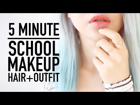 , title : 'Late for School Routine ♥ 5 Minute Makeup, Hairstyle & Clothes Outfit Tips ♥ Back To School ♥ Wengie'