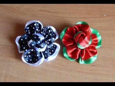 Как сделать цветы из атласных лент для резинок