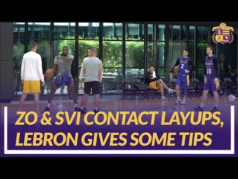Video: Lakers Practice: Lonzo Ball & Svi Mykhailiuk Do Contact Layup Drills, LeBron Gives Them Some Tips