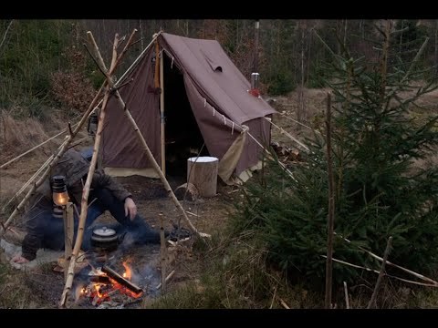 Winter Camping in Heavy Overnight Snowstorm - Canvas Wall Tent - Blizzard - Off Grid - Bushcraft