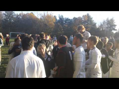 Men's Soccer postgame celebration
