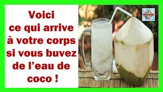 Voici ce qui arrive à votre corps si vous buvez de l'eau de coco !L'eau de coco Qu'est-ce que c'est?C'est l'eau qui se trouve au coeur des noix de coco vertes, ce qui signifie qu'elles ne sont pas entièrement mûres et contiennent 400 ml d'eau. Il ne faut pas confondre avec le coco marron qui sont généralement choisis pour leur viande, avec lequel le lait de coco est produit, beaucoup plus calorique. L'eau de coco contient cependant seulement 20 calories par 100 ml.Quels sont les avantages de l'eau de coco?Empêche la déshydratation:L'eau de coco est une boisson naturelle qui peut nous aider à réhydrater notre corps car il contient cinq électrolytes essentiels dont votre corps a besoin pour réguler sa température.Elle apporte de l'énergie:L'eau de coco contient 295 mg de potassium, donc une tasse d'eau de noix de coco contient plus de ce minéral qu'une banane.Améliore la digestion:L'eau de coco agit comme un tonique digestif et est souvent consommée dans la lutte contre certaines maladies tropicales comme la grippe de l'estomac, la dysenterie, la constipation ou les parasites intestinaux.Elle renforce le système immunitaire:En raison de son contenu élevé en acide croché et son antifongique, antiviral et antibactérien, l'eau de coco aide à renforcer le système immunitaire et ainsi prévenir l'apparition de diverses maladies.Elle s'occupe des voies urinaires:L'eau de coco a un effet diurétique qui peut prendre en charge la santé des reins et combattre l'apparition des calculs rénaux.Le pH du corps est réglementé:L'eau de coco aide à éliminer l'excès d'acidité du corps, à réguler les niveaux de pH et à contribuer à une meilleure santé.Pouvez-vous boire de l'eau de coco comme de l'eau normale?L'eau de coco est bonne pour la santé et qu'elle représente 95% d'eau, elle est aussi douce. Alors oubliez l'idée de boire 1,5 litre par jour et de l'eau naturelle. Très bien minéralisé, il est recommandé de ne pas abuser du potassium.Vidéo voici ce qui arrive à votre corps si vous bu