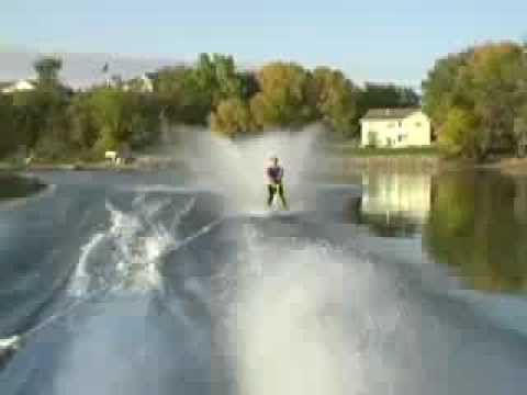 freeride films - Kyle attempts to barefoot ski behind snowmobile.