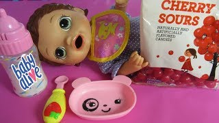 Video Feeding Baby Alive Super Snacks Snackin Lilly Cherry Sours Candy Pass or Fail? MP3, 3GP, MP4, WEBM, AVI, FLV Juni 2019