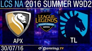 Apex vs Liquid - LCS NA Summer Split 2016 - W9D2