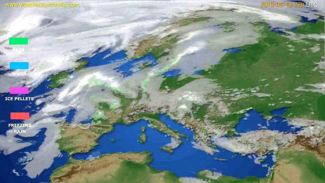 Precipitation forecast Europe // modelrun: 00h UTC 2019-06-16