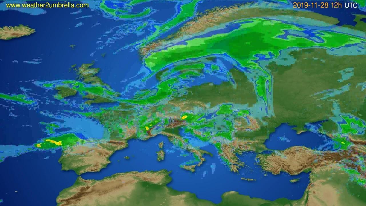 Radar forecast Europe // modelrun: 00h UTC 2019-11-28