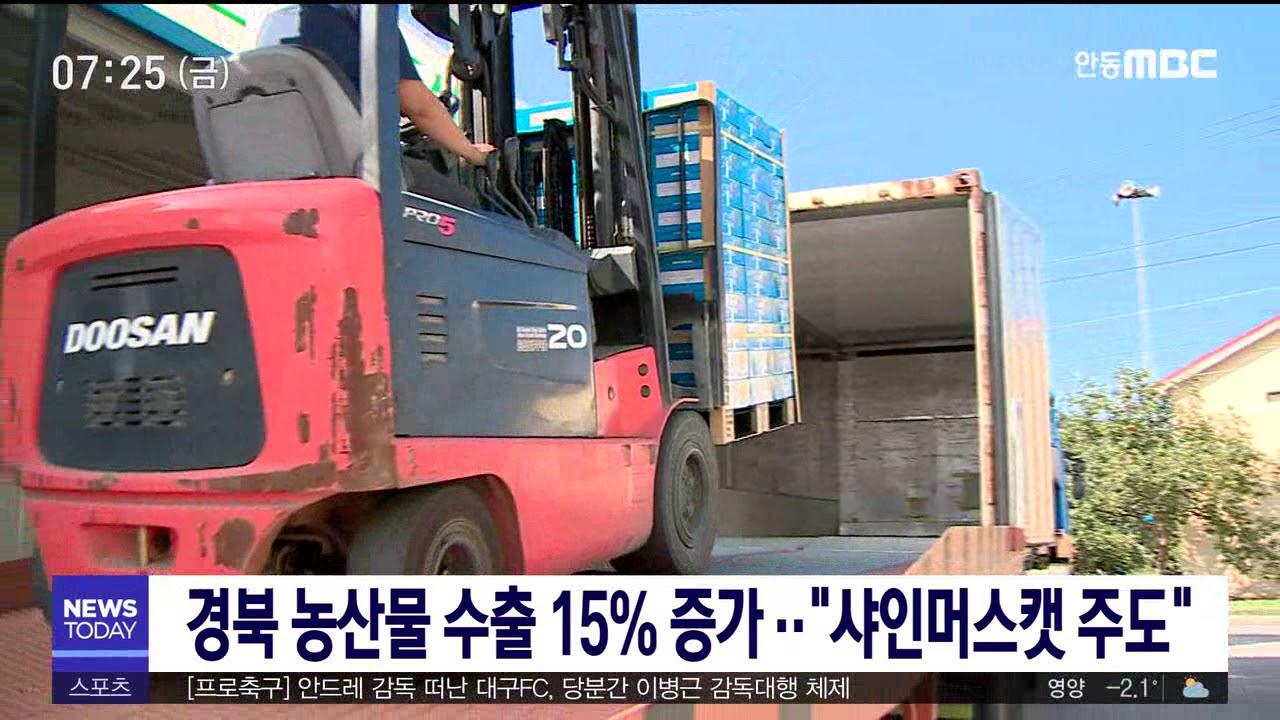 경북 농산물 수출 15% 증가..