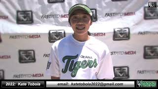 2022 Kate Tobola Power Hitting Athletic Middle Infielder Softball Skills Video - Ohana Tigers