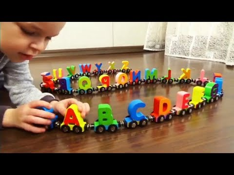 Learn English Alphabet A to Z with a wooden train  Kids learning videos Учим Английский