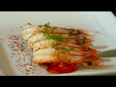 Marvesta Shrimp with Romesco Sauce made with Dorot herbs