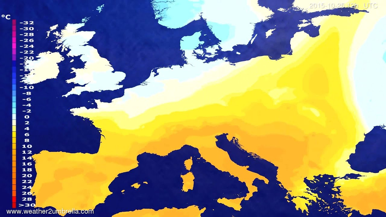 Temperature forecast Europe 2015-10-23