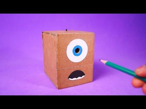 Apontador Elétrico à bateria feito com papelão! Veja como fazer