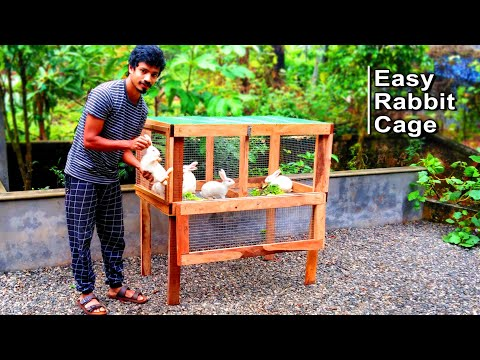 How To Make Rabbit Cage at Home Using Wood and Iron Net   Easy Rabbit Cage Making