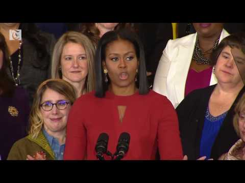 First Lady Michelle Obama gave her final remarks in an emotional speech at the White House