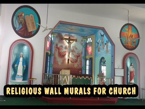 Church background wall mural paintings |  catholic wall murals painting artist
