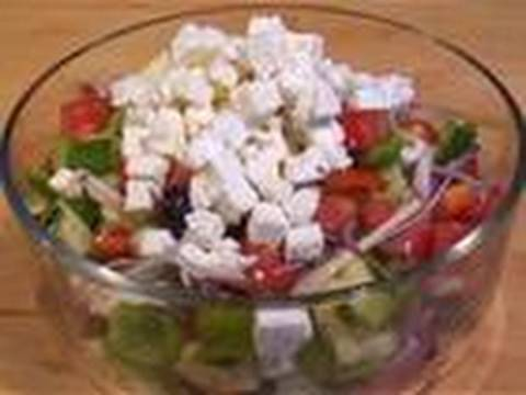 Salad - Typical Greek Salad Recipe with feta cheese and black olives: an appetising lunch! A Greek classic. Try our Greek Salad recipe. Subscribe! http://www.youtube...