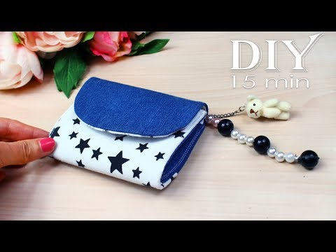 DIY MINI POUCH AWESOME DESIGN // Handmade Purse Wallet Jeans Recycle