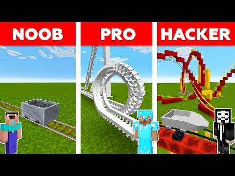 Minecraft NOOB vs PRO vs HACKER  ROLLER COASTER CHALLENGE in minecraft  Animation